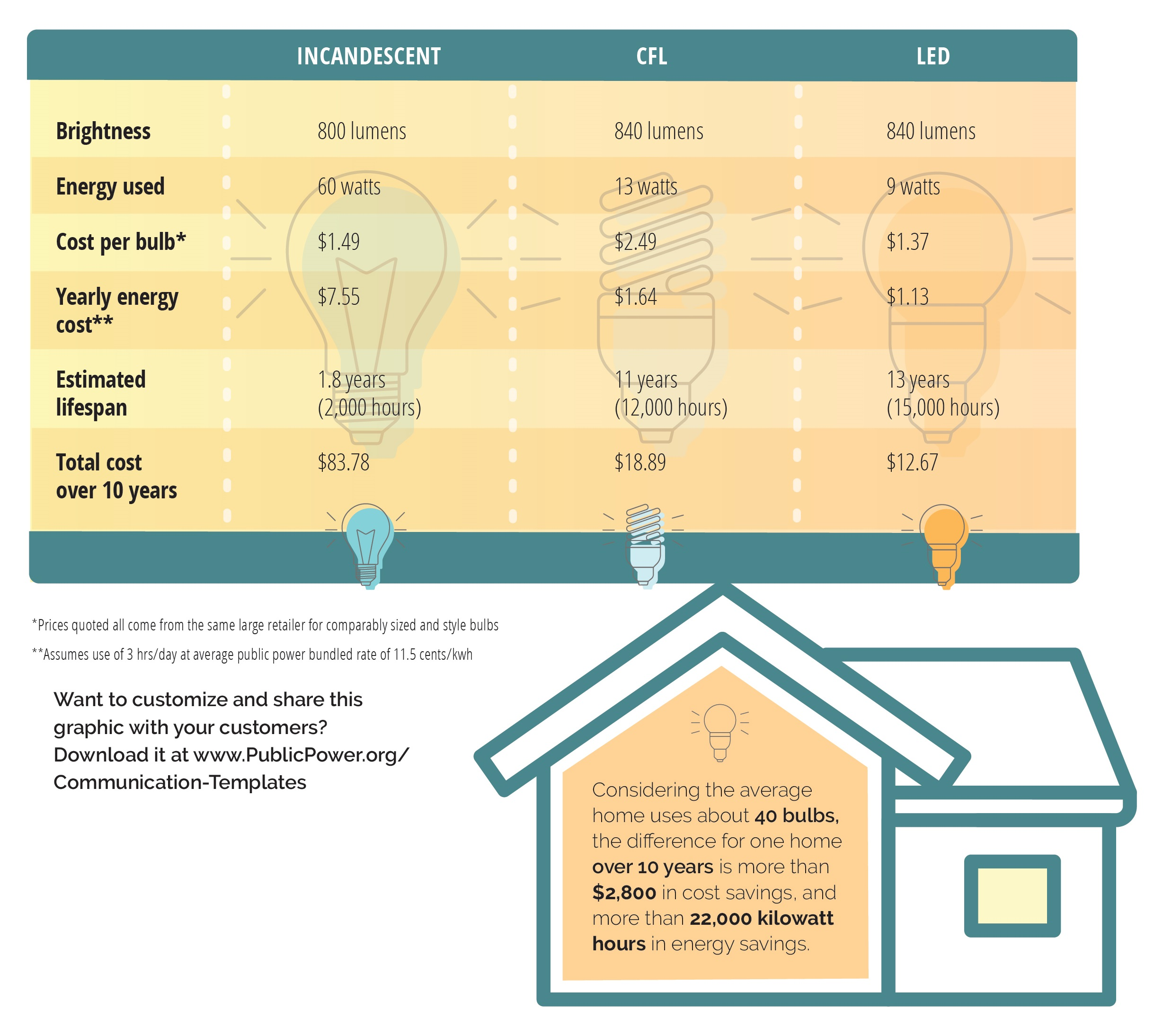 infographic comparison of bulb types