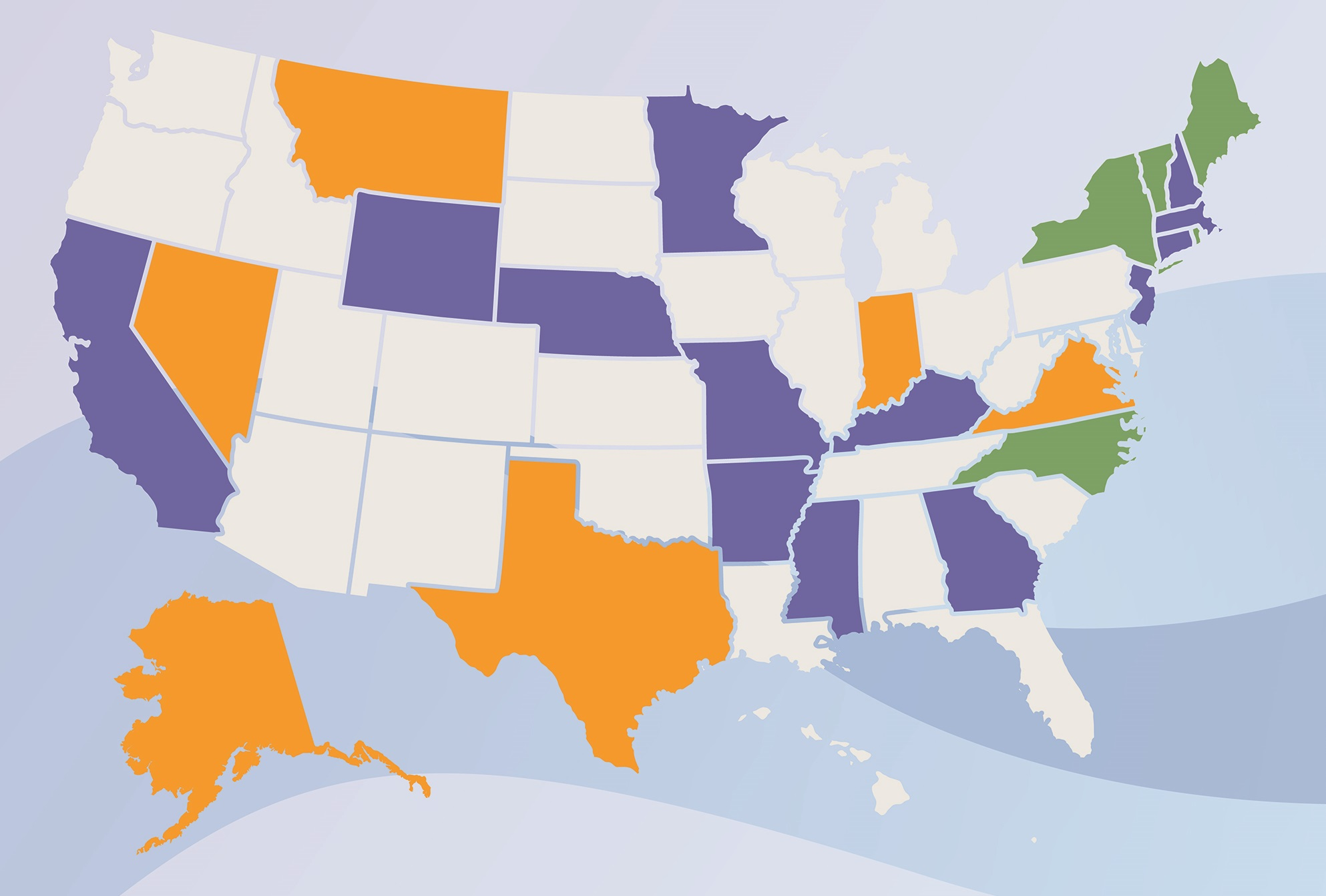US map with states coded by action on net metering legislation