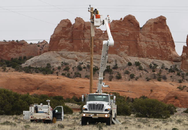 Utility crews working on Navajo Nation