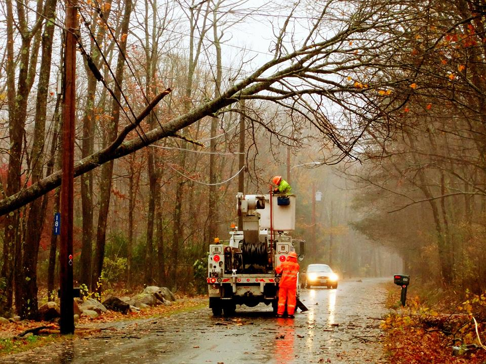 Crews from Pascoag Utility District doing repair work