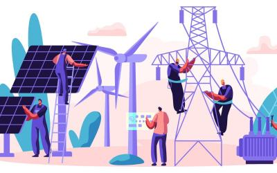 illustration of solar PV and wind turbines and a transmission tower