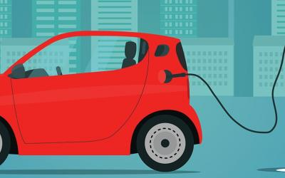 illustration of electric car and charging station