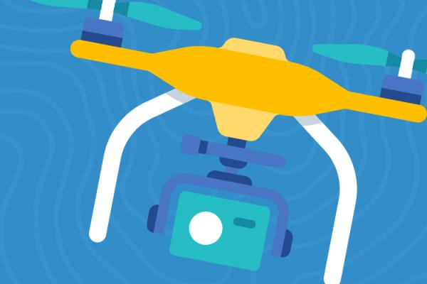 Graphic of drone carrying a camera on blue background