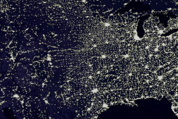 map of the US with lights