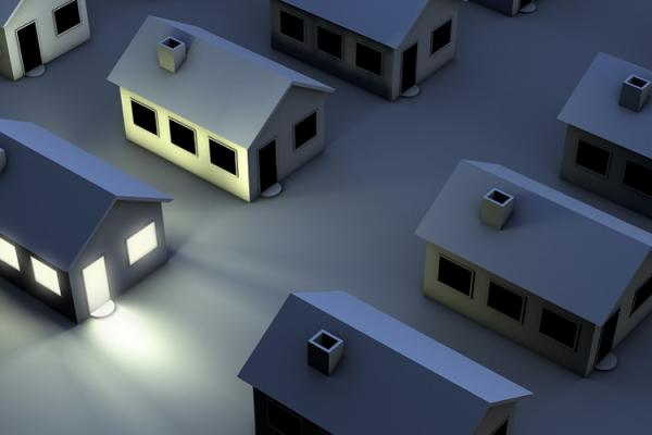 one house in community illuminated