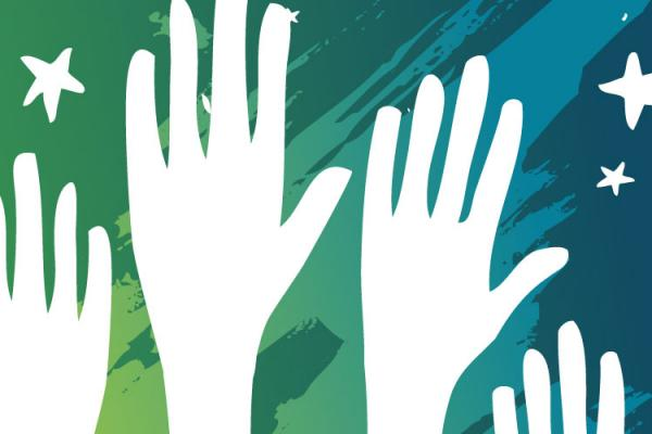 outlines of raised hands on blue green background