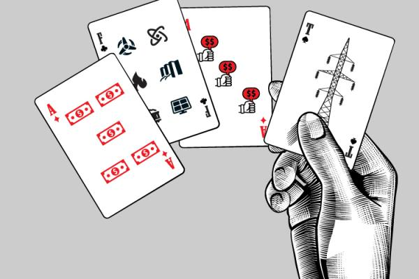 sketch of a hand holding cards with energy symbols on them