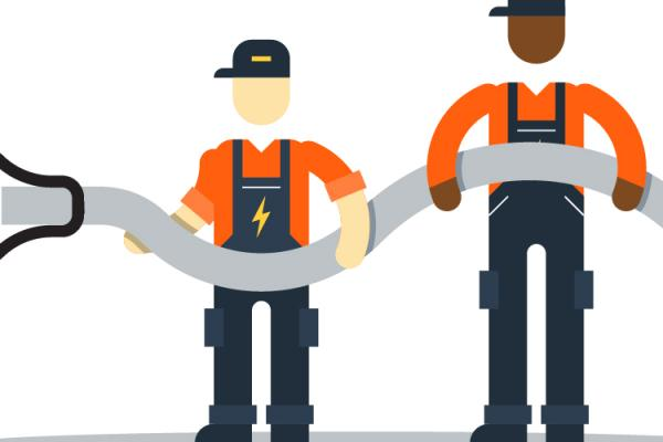 illustration of utility workers holding electric cord