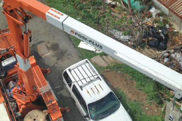 Birds eye view of bucket truck in USVI
