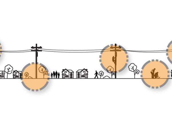 power lines in a community with people