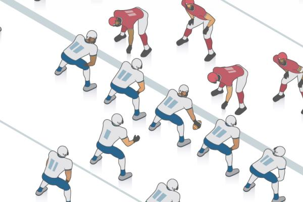 illustration of football players before the snap