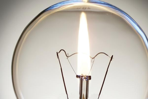 gas flame inside light bulb
