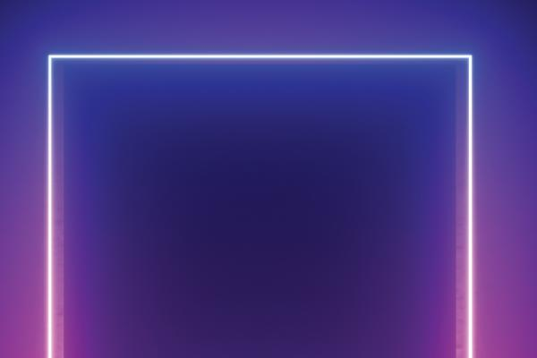 neon light square on purple background