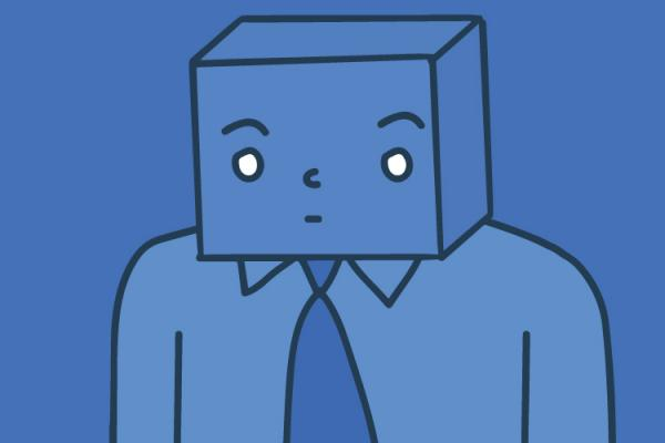 illustration of person with a cube head