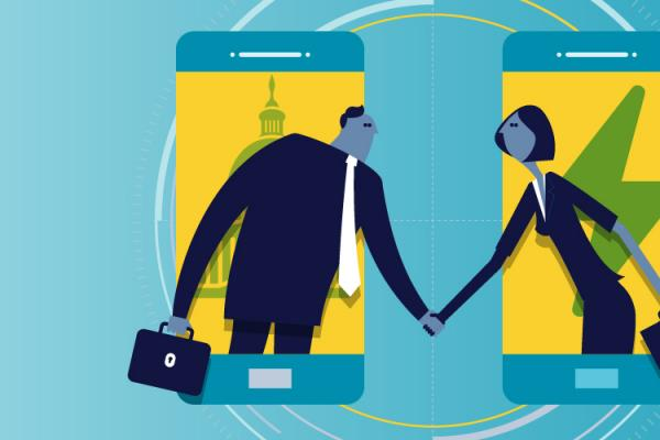 illustration of people shaking hands across phones