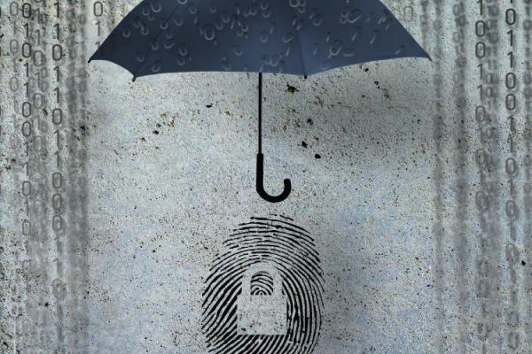 image of an umbrella over a fingerprint