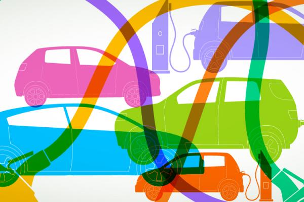 colorful outlines of cars