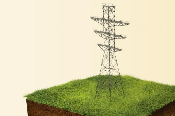 Transmission tower on chunk of soil
