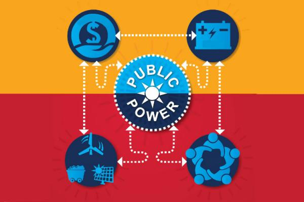 icons representing benefits of public power
