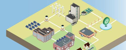 illustration of a set of buildings as a microgrid