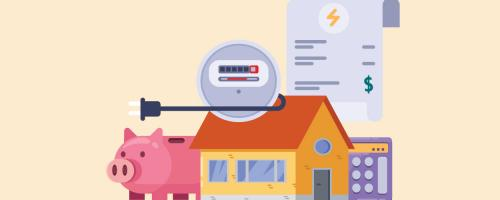 illustration of electric meter, house, and piggy bank